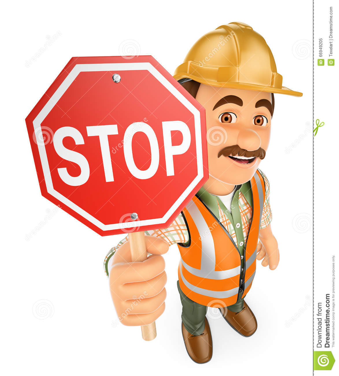3D Construction worker with a stop signal